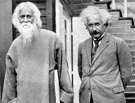 Einstein (right) with writer, musician and Nobel laureate Rabindranath Tagore, 1930 Rabindranath with Einstein.jpg