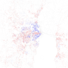 Map Of Racial Distribution In Mobile 2010 US Census Each Dot Is 25 People White Black Asian Hispanic Or Other Yellow