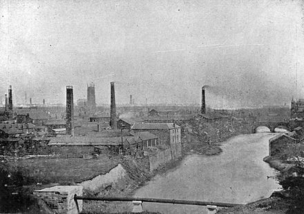 Following the Industrial Revolution the River Irwell was badly polluted by industry, such as that pictured in this photograph of Radcliffe taken in 1902. Radcliffe looking east 1902.jpg