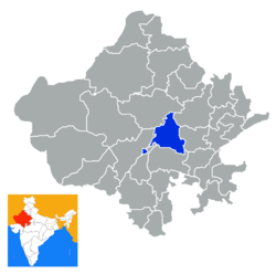 Location of Ajmer district in Rajasthan