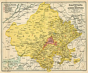Rajputana - The map of the Rajputana Agency in 1909