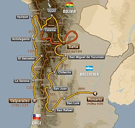 Route van de Dakar Rally 2014