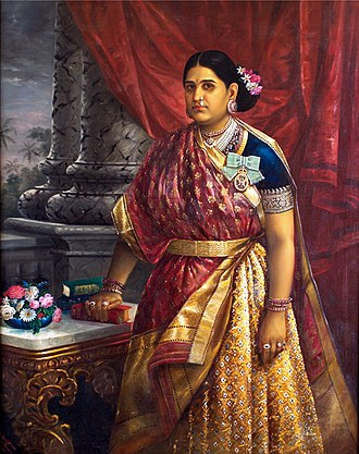 Raja Ravi Varma - Varma's sister-in-law, Bharani Thirunal Lakshmi Bayi, Senior Rani of Attingal (or Travancore), who adopted Varma's granddaughters in 1900 CE