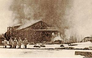Battle of Rautu (1918) - Rautu railway station on fire