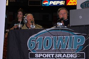 Ray Didinger - Ray Didinger (right) on 610 WIP with Bernie Parent