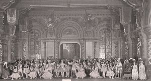 Raymonda - Act I of the original production of Raymonda on the stage of the Mariinsky Theatre. In the center is Pierina Legnani, creator of the title role.