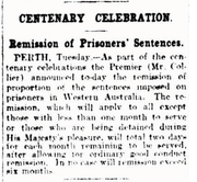 Remission of Prisoners' Sentences, The Age 9 October 1929.png