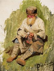Study of a peasant in the grass.