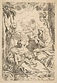 Repose in Egypt, Holy Family seated while an angel pulls at tree branches, copy after Cantarini MET DP815032.jpg