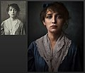 Restauration and colorisation of a black and white picture of sculptor Camille Claudel taken in 1882.jpg