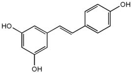 Structure of the polyphenol antioxidant resveratrol.