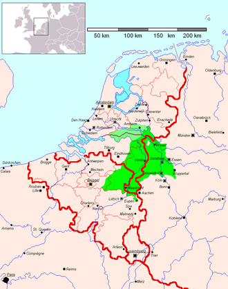 Meuse-Rhenish - Geographical position of the Meuse-Rhenish dialects