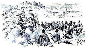Second Matabele War - Rhodes makes peace with the Ndebele in Matobo Hills, 1896.  Sketch by Robert Baden-Powell.
