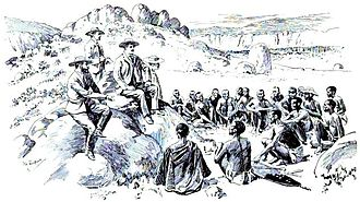 Company rule in Rhodesia - Rhodes and the Matabele izinDuna make peace in the Matopos Hills, as depicted by Robert Baden-Powell, 1896