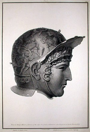 Ribchester Helmet - An engraving by James Basire for Charles Townley.