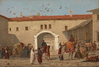 Richard Dadd - Caravanserai at Mylasa in Asia Minor, 1845, Yale Cantre for British Art
