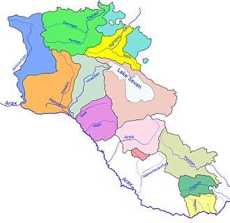 Aghstafa (river) - Aghstev river and its basin (yellow) within Armenia