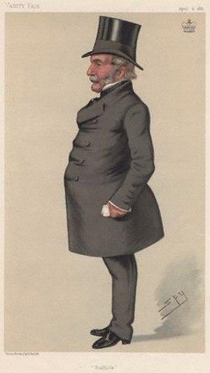 """Robert Adair, 1st Baron Waveney - """"Suffolk"""" Lord Waveney as caricatured by Spy (Leslie Ward) in Vanity Fair, April 1881"""