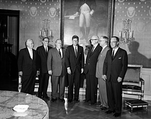 Robert B. Chiperfield - Hon. Robert B. Chiperfield (2nd from left) at a congressional coffee hour with President John F. Kennedy (center) and other congressmen on 14 September 1961 (White House Photographs, John F. Kennedy Presidential Library and Museum).