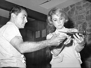 "The Twilight Zone (1959 TV series) - Rod Serling models an airplane with actress Inger Stevens, who appeared in ""The Hitch-Hiker"" and ""The Lateness of the Hour."""