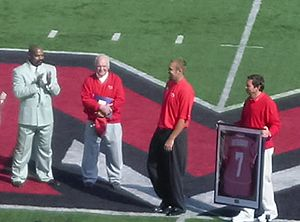 2007 Miami RedHawks football team - Ben Roethlisberger's number being retired before the BGSU game. Also pictured Bob Hitchens (far left) and John Pont (2nd from the left)