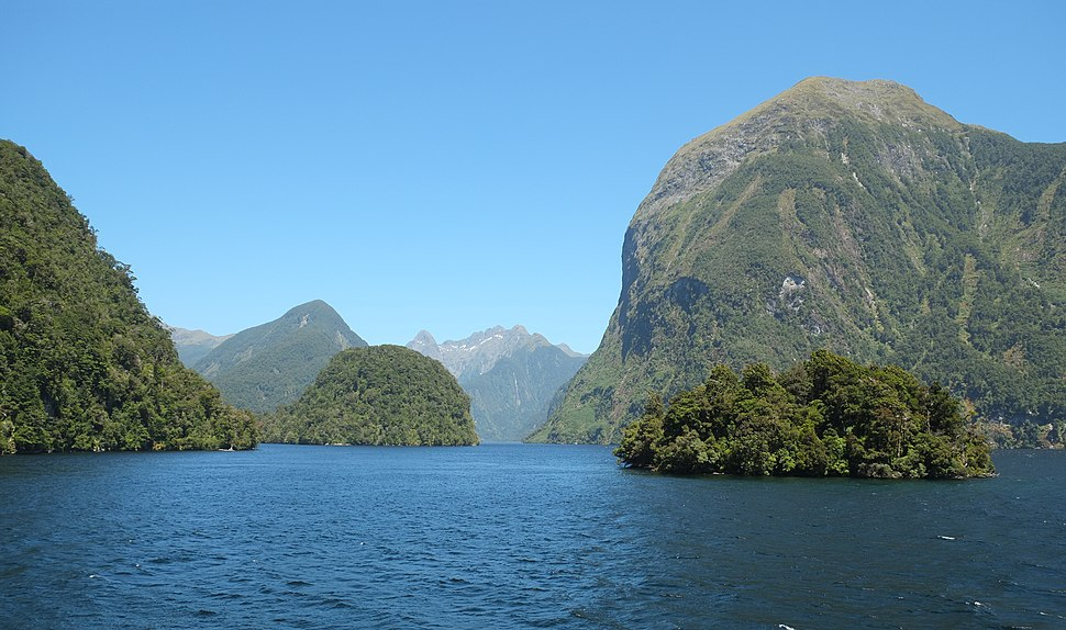Rolla Island in front of Commander Peak and entrance to Hall Arm of Doubtful Sound