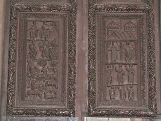 History of wood carving - Detail from the carved portal, of St Sabina on the Aventine Hill, dating back from the 5th century