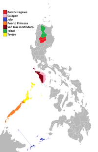 Map of the apostolic vicariates of the Catholic Church in the Philippines