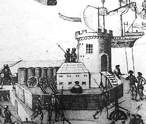 Round Tower (Portsmouth) - A depiction of how the round tower appeared in 1545