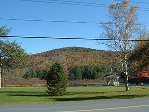 Rowe, Massachusetts - Adams Mountain, with the Village Green and Mill Pond in the foreground