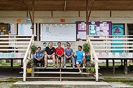 Photographer with teachers and guard of SK Rundum, Sabah