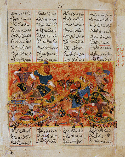 File:Rustam Kills the Turanian Hero Alkus with his Lance.jpg