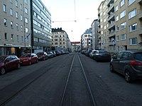 Ruusulankatu tram rails (at lat 60.18206, lon 24.92450) heading NW.jpg