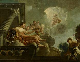 Religio begunstigt Abondantia : Allegorische voorstelling van de verzorging van leprozen en onnozelen