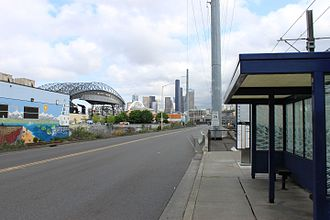 SODO Busway - SODO Busway stop at South Holgate Street with Downtown Seattle in the background.