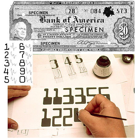 The ERMA system, which uses magnetic ink character recognition to process checks, was one of SRI's earliest developments. SRI ERMA MICR montage.jpg