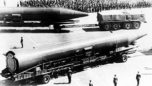 R-14 Chusovaya - A right side view of two vehicle-mounted Soviet R-14 missiles (SS-5 Skean) IRBMs (1977).