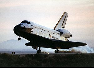 STS-76 - Atlantis lands at the Edwards Air Force Base on 31 March 1996.