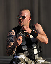 Joakim Brodén, lead vocalist and keyboardist of Sabaton at Wacken Open Air in 2013.