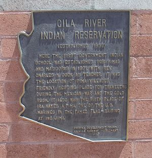 Indigenous peoples of Arizona - Historic Marker which reads: Gila River Indian Reservation (established 1859) Here the first Indian school was established by the government for the Pimas and Maricopas.