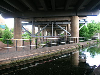 Salford Junction - The Grand Union Canal above the River Tame and below the M6 motorway