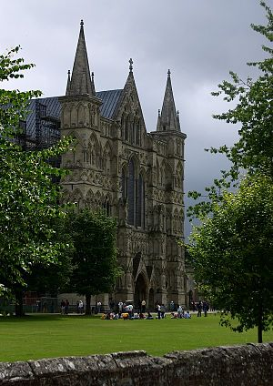 Salisbury - The Great West Front of Salisbury Cathedral.