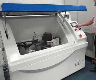 Salt spray test - A modified salt spray chamber in use