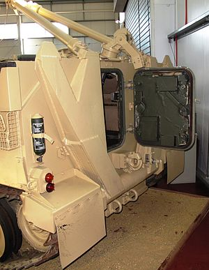 FV106 Samson - Rear view of a Samson showing the rear crew hatch, A-frame and anchor