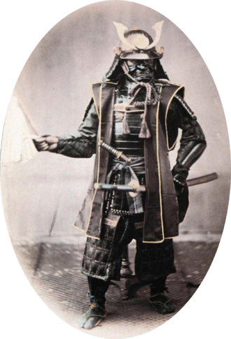 Samurai - Samurai in armor in 1860s. Hand-coloured photograph by Felice Beato.