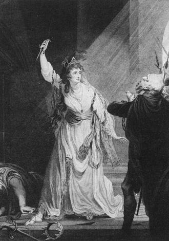 Sarah Siddons - Sarah Siddons as Euphrasia in Arthur Murphy's The Grecian Daughter, at the Theatre Royal, Drury Lane, in 1782
