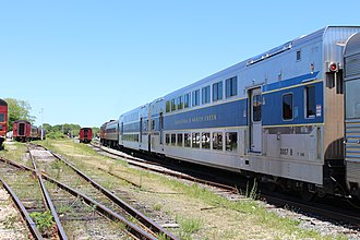 C1 (railcar) - Two Saratoga and North Creek Railway C1 railcars at Hyannis, Massachusetts in 2013