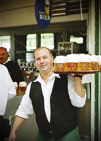 Tray - Waiter with waitperson service tray in Vienna, Austria.