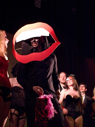 Science Fiction/Double Feature - The iconic opening lips at a Dublin, Ireland shadow cast of Rocky Horror in 2009