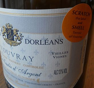 Wine label - A wine label for a wine from Vouvray with a scratch and sniff sticker affixed to draw the consumer's attention.